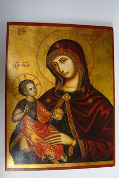 Icon the Virgin and Child - Gotic Style - The Virgin Madre della Consolazione - 20th century