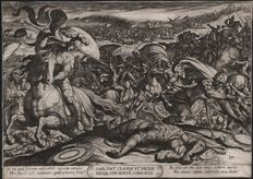 Antonio Tempesta (1555 - 1630) - The death of Saul - Early impression by Tempesta himself - 1613