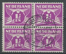 The Netherlands 1928 – Flying dove, with variety CEN instead of CENT – NVPH 171Af in block of 4