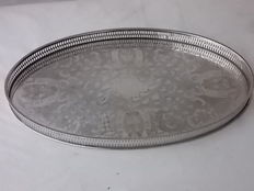 Ancient oval silver plated English tray, with openwork railing, marked Viners Sheffield, c1900