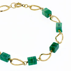 18 kt/750 yellow gold bracelet with aventurine