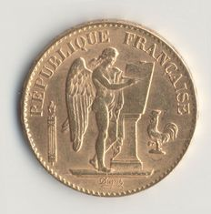 France – 20 Francs Gold Génie 1898 A – 3rd Republic.