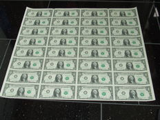US - 1 dollar 2009, complete uncut sheet of 32 pcs