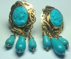 Yellow gold earrings with turquoise and blue colour faux parts