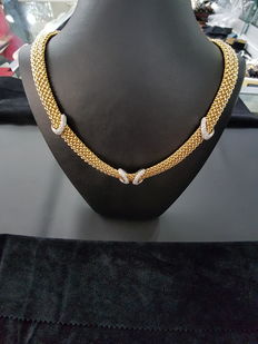 18kt Yellow Gold Mesh Link Necklace with Diamonds (Ladies)