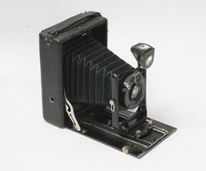 Plate camera Contessa-Nettel Donata format 9 x 12 with bag and 3 plates approx. 1920