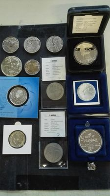 The Netherlands - lot of various coins and Ecu medals (11 pieces), including silver.