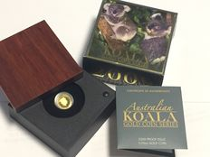 Australia - $5 - Koala 2009 - 1/25 oz 999 gold coins - proof - with box and certificate