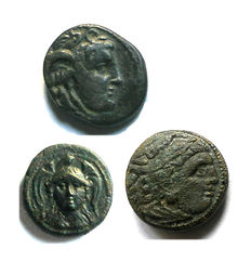 Lot of 3 Greek coins AE: Two from the Kingdom of Seleucid and one of Alessandro Magno – countermarked