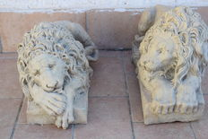 Pair of marble dust Lions - 19th  around 20th century