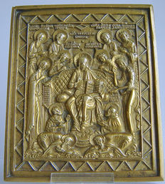 "Antique Russian icon ""extended DEESIS"" in Museum condition 130 x 115 mm Ca. 1750"