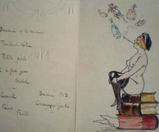 Culinary;  Menu with naked young woman with cigarette, sitting on stack of books, by unknown artist - 20s