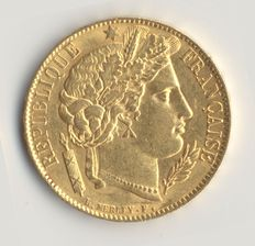France – 20 Francs, Gold, Cérès 1851 A – 3rd Republic.