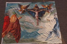 Religious image of the crucifixion on a huge canvas.