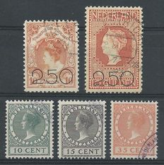The Netherlands 1920/1924 - Sale release and show stamps - NVPH 105/105 + 136/138