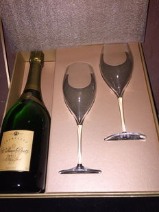 2006 William Deutz Brut Champagne with 2 glasses and 1 case.