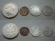 Poland - lot of various coins 1620 / 1932 (4 items)