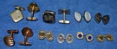 12-piece lot, 6 pairs of vintage silver cuff links in enamelled silver835, with nacre, Old collection.