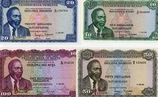 Kenya - 10, 20, 50 and 100 Shillings 1974 / 1973 / 1971 / 1972 - Pick 7e, 8d, 9b and 10c