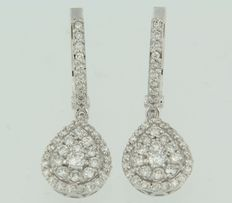 White gold droplet-shaped dangle earrings set with brilliant cut diamonds