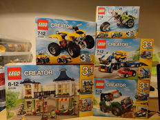 Creator - 31018 + 31022 + 31033 + 31036 + 31037 - Highway Cruiser + Turbo Quad + Vehicle Transporter + Toy & Grocery Shop + Adventure Vehicles