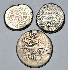 Afghanistan, Durrani Empire, Abdur Rahman Khan & Sher Ali, 1830-1901 AD - Lot of 3 AR silver Rupee Mint: All Kabul Dated 18th Century
