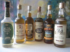 6 bottles - Oldmoor 5 years old, Mc Grow, Honest John, Blue Moon, Old Cricket & Blen Stark 5 years old