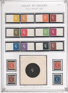 France 1867/1975 - Project BORDES Colour test 1867 and 1st day cards