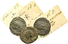 Roman Empire - Lot of 3 late Roman AE coins / Delmatius Caesar and Gratianus 335-383 A.D. / from old German Lückger collection (1864-1951)