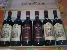 2 x 1983, 2 x 1984, 1 x 1974 & 1 x 1979 Chianti Barone Ricasoli – total of 6 bottles with wooden case