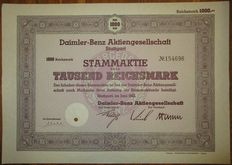 Germany - Daimler-Benz AG - Aktie Share 1000 RM Stuttgart 1942 - famous Mercedes Benz car manufacturer