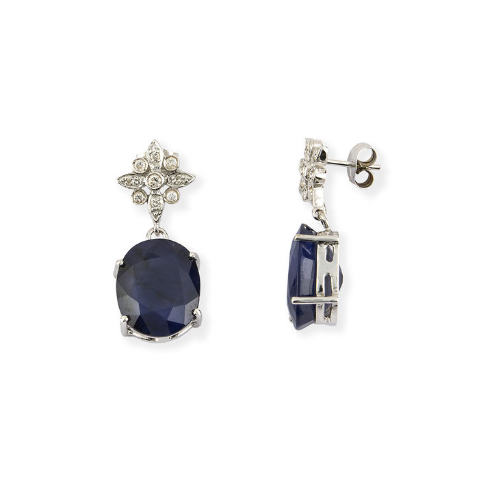 18 kt/750 white gold – Long earrings – Diffusion-treated sapphires – Brilliant cut diamonds