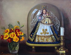 Louis Van De Leur (1910-1988) still life with Madonna under glass bell