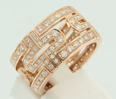 "Bvlgari - ring ""Parentesi"" - 18 kt rose gold ring set with 144 brilliant cut diamonds - ring size 17.5 (55)"
