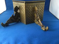 Brass bookends depicting a pipe smoking Dutchman - the Netherlands - ca. 1930