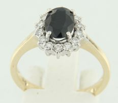 14k bicolor rozet ring met saffier en 14 diamanten