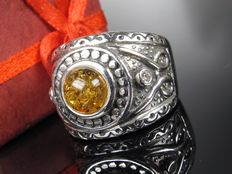 Silver ring – Weight: 14.5 g – Amber and topaz – Men's signet ring
