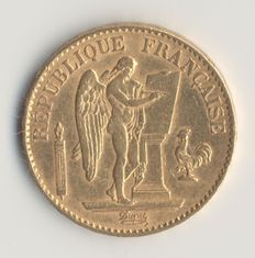 France – 20 Francs Gold Génie 1878 A – 3rd Republic.
