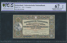 Switzerland - 5 Francs 1951 - in PCGS Slab - Pick 11o