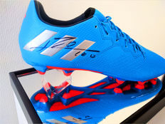 Lionel Messi signed Adidas football boot in display case + official COA