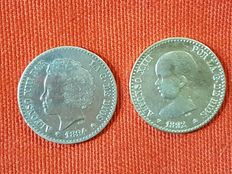 Spain – Alfonso XIII – 50 centimos, silver coin – Year 1892 – Stars 9-2 and 1894 star – 4