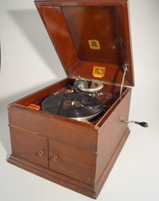 HMV table gramophone with retailers plaque for Joseph H. Rhiley - Birmingham -England - circa 1920