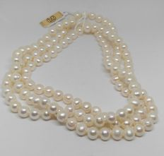 Cultured pearls necklace of 9 mm-120 cm length