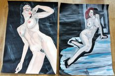 Pin-up art; 2 Paintings by Swik - 2016
