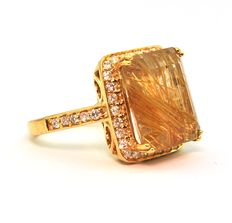 Yellow Sparkling (Empaillé) Citrine & 40 Diamonds 0,60CT Modern cut H/I SI,  18K Yellow Gold Ring - E.U Size 55 resizable