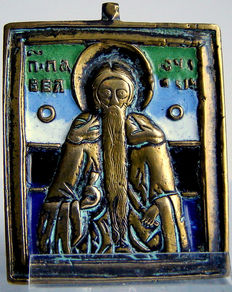 "Beautifully enamelled travel icon of the ""H. PAÏSIOS the great"" Ca. 1800 61 x 48 mm"
