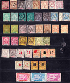 Ivory Coast 1892 - Collection of 44 stamps including sage type series between Yvert No. 1 to 13 and 48 81 82 83, parcel postage no. 11 and 13.