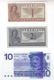 Netherlands - 1 and 2 ½ guilder 1949 Juliana and 10 guilder Frans Hals - Mevius 07-1a, 16-1b and 49-1a