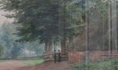 Unknown (19/20th century) - Farmers at farm in the forest