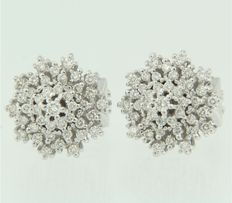 White gold, 14 kt, clip-on earrings, set with 82, brilliant cut diamonds.